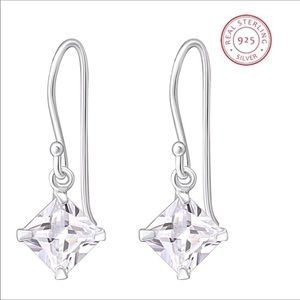Solid 925 Silver Earrings w/Clear CZs